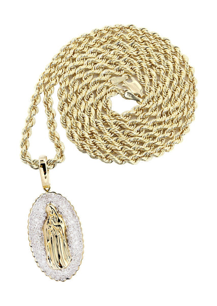 10K Yellow Gold St. Mary Diamond Pendant & Rope Chain | 0.39 Carats