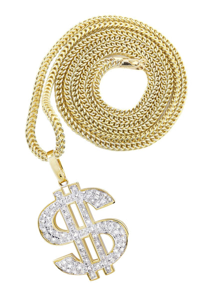 10K Yellow Gold Money Sign Pendant & Franco Chain | 0.59 Carats