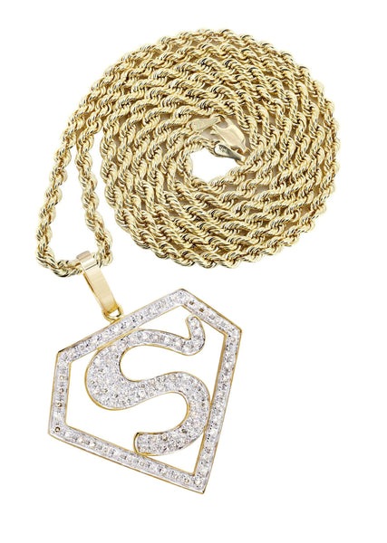 10K Yellow Gold Superman Pendant & Rope Chain | 0.75 Carats