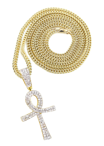 10K Yellow Gold Ankh Pendant & Franco Chain | 0.93 Carats