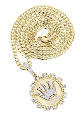 14K Yellow Gold Crown Diamond Pendant & Cuban Chain | 0.28 Carats