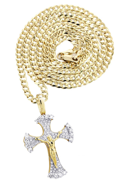 10K Yellow Gold Cross Pendant & Cuban Chain | 1.05 Carats