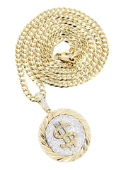14K Yellow Gold Money Sign Diamond Pendant & Cuban Chain | 0.5 Carats