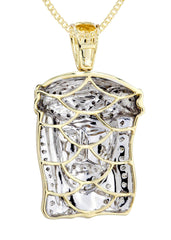 10K Yellow Gold Jesus Head Diamond Pendant & Cuban Chain | 0.33 Carats Diamond Combo FROST NYC