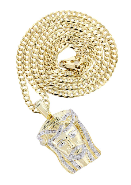 10K Yellow Gold Jesus Head Diamond Pendant & Cuban Chain | 0.33 Carats