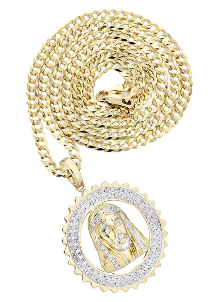 10K Yellow Gold Jesus Head Diamond Pendant & Cuban Chain | 0.6 Carats