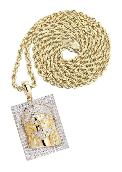 10K Yellow Gold Jesus Head Diamond Pendant & Rope Chain | 0.48 Carats