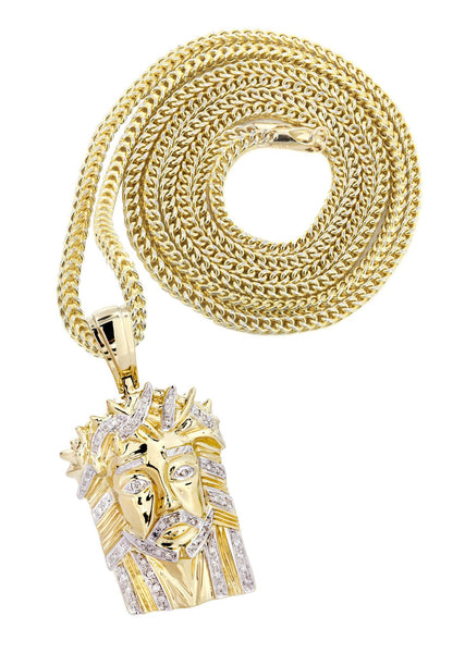 10K Yellow Gold Jesus Head Diamond Pendant & Franco Chain | 0.28 Carats