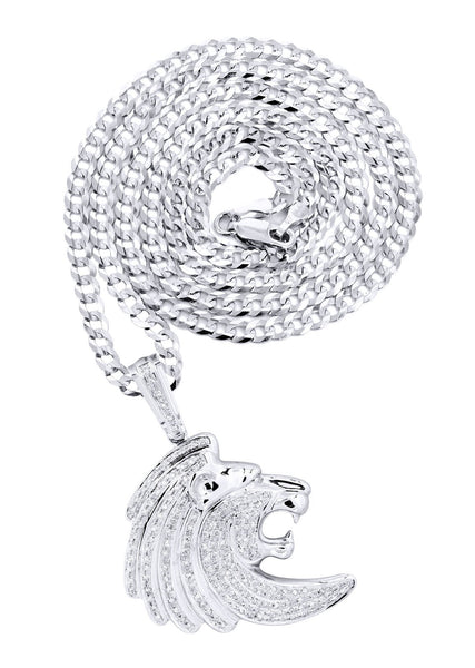 10K White Gold Lion Head Diamond Pendant & Cuban Chain | 0.79 Carats