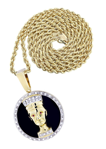 14K Yellow Gold Pharaoh Pendant & Rope Chain | 0.42 Carats