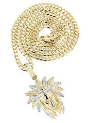 10K Yellow Gold Chief Head Diamond Pendant & Cuban Chain | 0.23 Carats