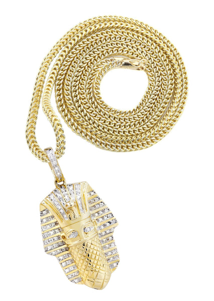 14K Yellow Gold Masked Pharaoh Pendant & Franco Chain | 0.35 Carats