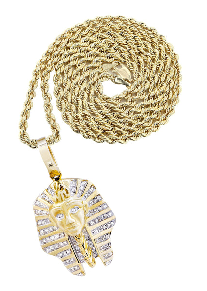 10K Yellow Gold Pharaoh Pendant & Rope Chain | 0.25 Carats
