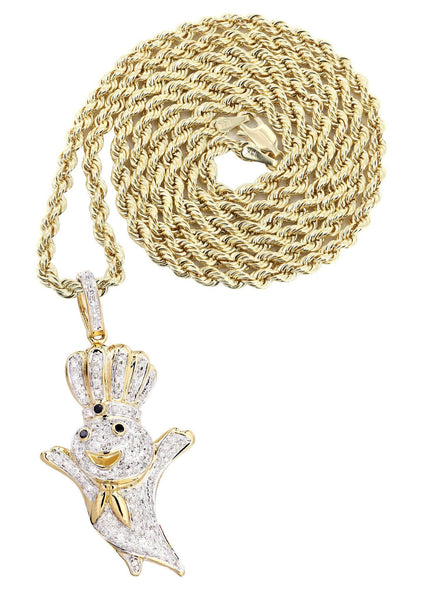 14K Yellow Gold Pillsbury Boy Diamond Pendant & Rope Chain | 0.79 Carats