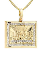 10K Yellow Gold Last Supper Diamond Pendant & Franco Chain | 0.43 Carats
