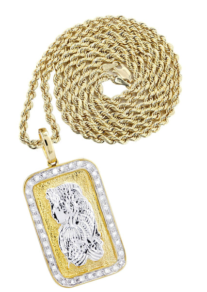 10K Yellow Gold Bar Pendant & Rope Chain | 0.59 Carats