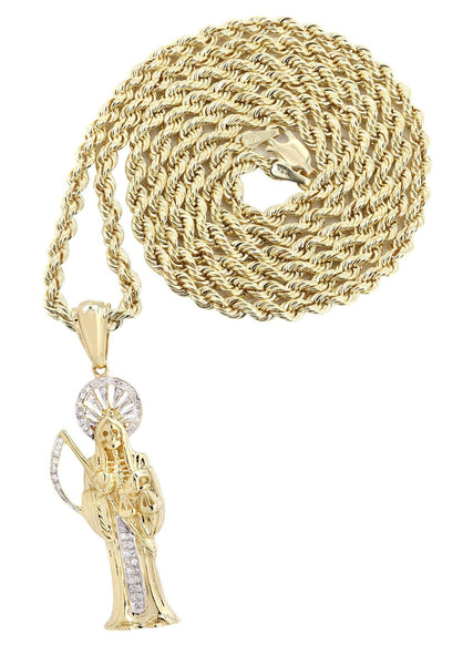10K Yellow Gold St. Death Diamond Pendant & Rope Chain | 0.17 Carats