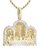 10K Yellow Gold Last Supper Diamond Pendant & Rope Chain | 0.36 Carats