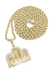 10K Yellow Gold Last Supper Diamond Pendant & Rope Chain | 0.36 Carats Diamond Combo FROST NYC
