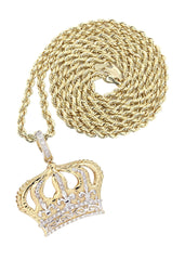 14K Yellow Gold Crown Diamond Pendant & Rope Chain | 0.16 Carats Diamond Combo FROST NYC