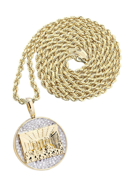 10K Yellow Gold Last Supper Diamond Pendant & Rope Chain | 0.32 Carats
