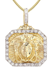 14K Yellow Gold Versace Diamond Pendant & Franco Chain | 0.48 Carats Diamond Combo FROST NYC
