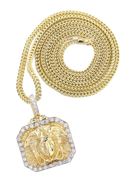14K Yellow Gold Versace Diamond Pendant & Franco Chain | 0.48 Carats