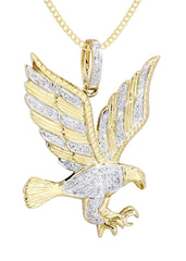 10K Yellow Gold Eagle Diamond Pendant & Cuban Chain | 0.27 Carats