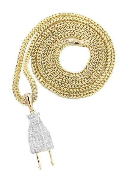 10K Yellow Gold Plug Diamond Pendant & Franco Chain | 0.66 Carats
