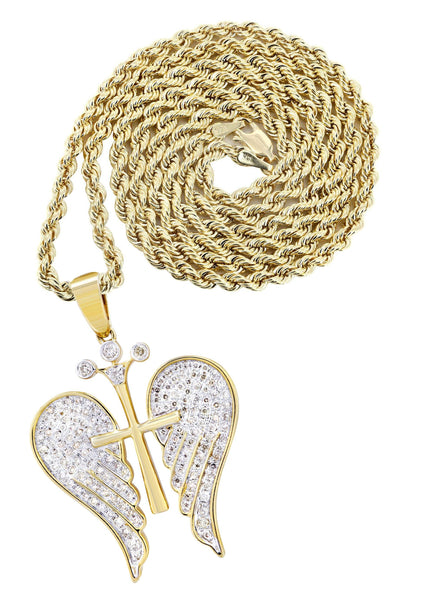 10K Yellow Gold Wings Pendant & Rope Chain | 0.77 Carats