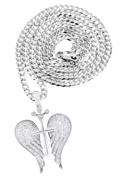 10K White Gold Wings Pendant & Rope Chain | 0.86 Carats