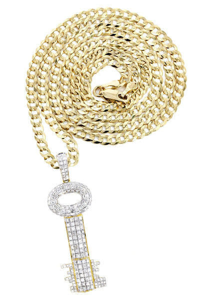 10K Yellow Gold Key Pendant & Cuban Chain | 2.78 Carats