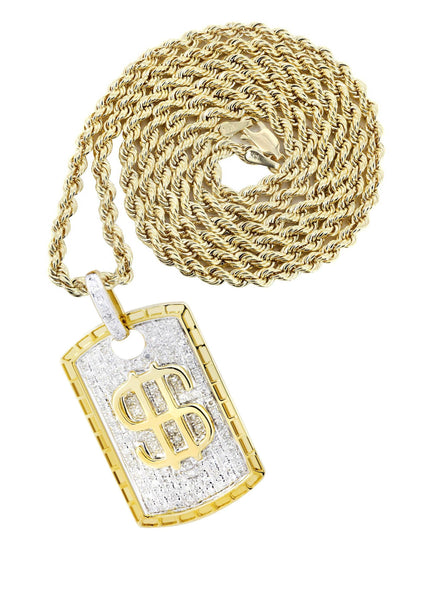 10K Yellow Gold Dog Tag Pendant & Rope Chain | 0.52 Carats