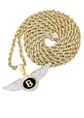 10K Yellow Gold Bentley Pendant & Rope Chain | 0.54 Carats diamond combo FrostNYC