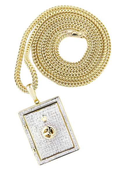10K Yellow Gold Vault Pendant & Franco Chain | 0.59 Carats