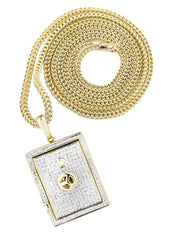 10K Yellow Gold Vault Pendant & Franco Chain | 0.59 Carats diamond combo FrostNYC