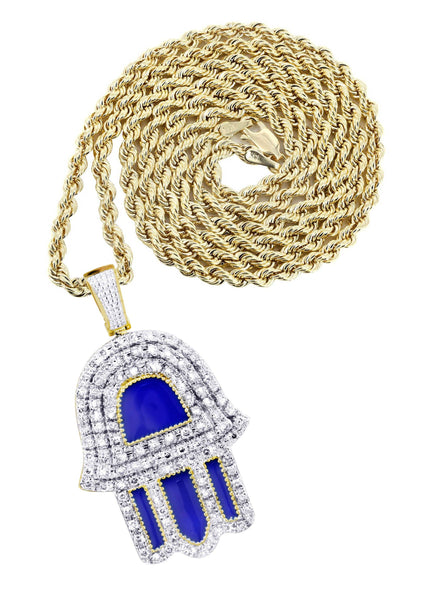 10K Yellow Gold Hamsa Pendant & Rope Chain | 0.76 Carats