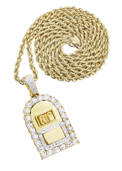 10K Yellow Gold RIP Pendant & Rope Chain | 0.85 Carats
