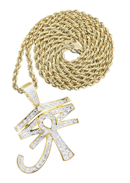 10K Yellow Gold Eye of Ra Pendant & Rope Chain | 0.71 Carats