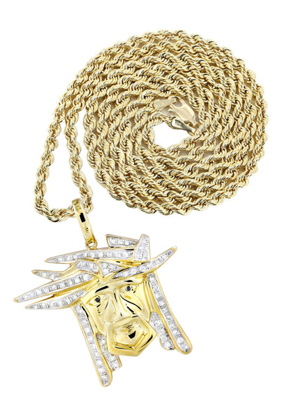 10K Yellow Gold Jesus Pendant & Rope Chain | 0.42 Carats