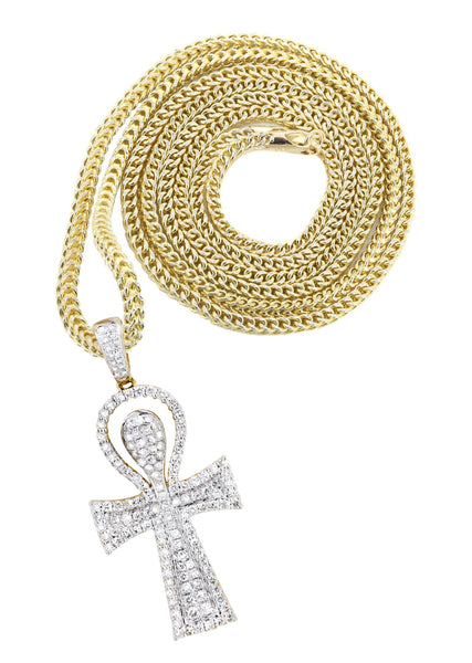 10K Yellow Gold Ankh Pendant & Franco Chain | 0.77 Carats