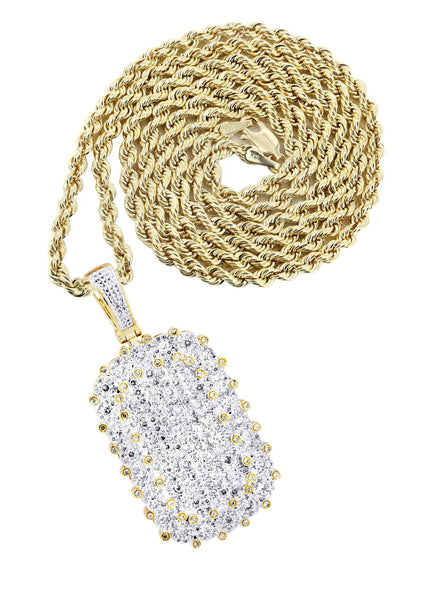 10K Yellow Gold Dog Tag Pendant & Rope Chain | 1.73 Carats