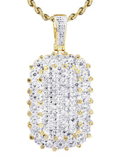 10K Yellow Gold Dog Tag Pendant & Rope Chain | 1.73 Carats diamond combo FrostNYC