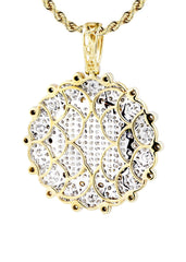10K Yellow Gold Round Pendant & Rope Chain | 3.08 Carats
