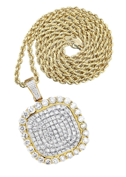 10K Yellow Gold Round Pendant & Rope Chain | 3.34 Carats