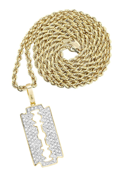 10K Yellow Gold Razor Blade Barber Pendant & Rope Chain | 0.77 Carats