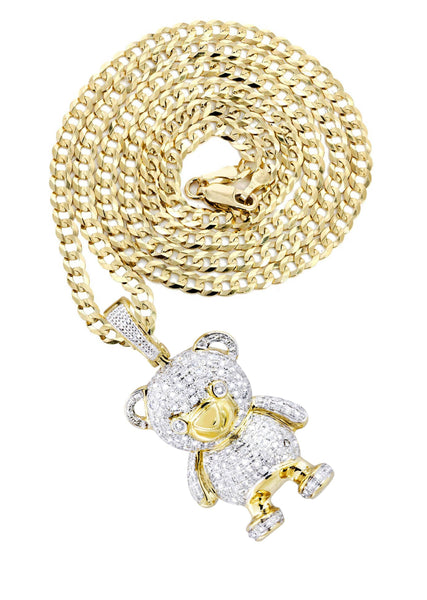 10K Yellow Gold Teddy Bear Pendant & Cuban Chain | 1.37 Carats