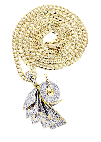 10K Yellow Gold Money Roll Pendant & Cuban Chain | 2.2 Carats