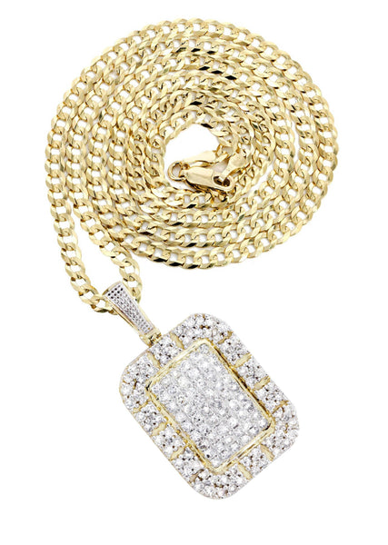 10K Yellow Gold Dog Tag Pendant & Cuban Chain | 2.73 Carats