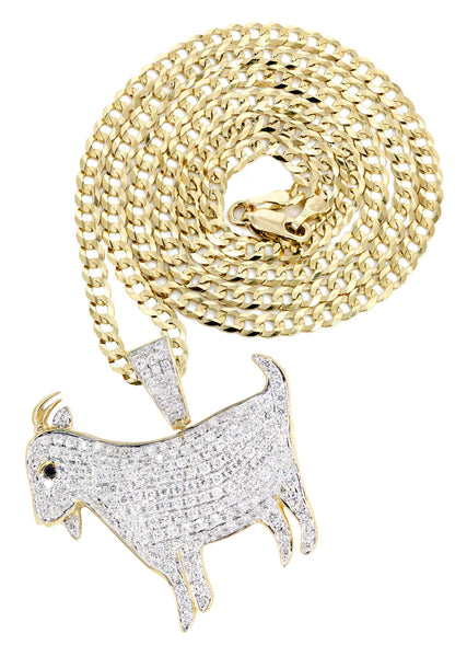 14K Yellow Gold Goat Diamond Pendant & Cuban Chain | 2.44 Carats
